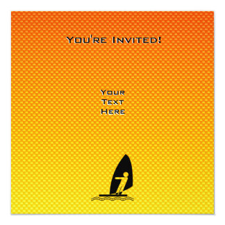"Yellow Orange Windsurfing 5.25"" Square Invitation Card"