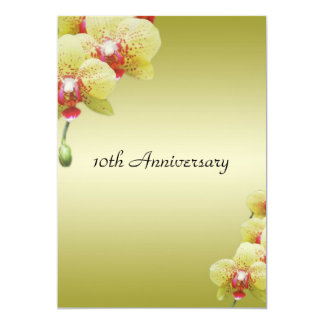yellow orchid flowers annversary invitations. 13 cm x 18 cm invitation card