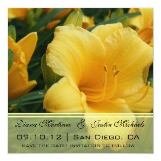 """Yellow Orchid Flowers Save the Date 5.25"""" Square Invitation Card"""
