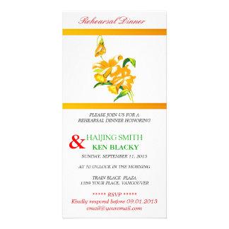 Yellow Orchid Rehearsal Dinner Invitation Custom Photo Card