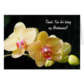 Yellow Orchids Bridesmaid Note Card