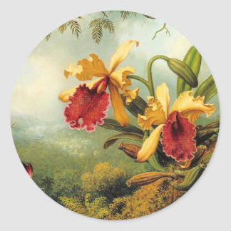 Yellow Orchids Classic Round Sticker