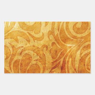yellow ornate swirl pattern rectangular stickers
