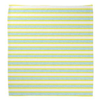 Yellow Outlined Static Pastel Blue Stripes Bandana