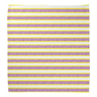 Yellow Outlined Static Purple Stripes Bandana