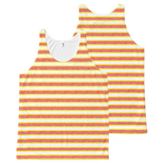 Yellow Outlined Static Red Stripes All-Over Print Tank Top