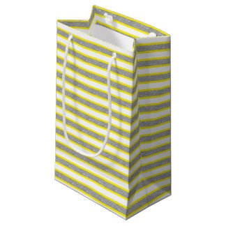 Yellow Outlined Static Silver Stripes Small Gift Bag