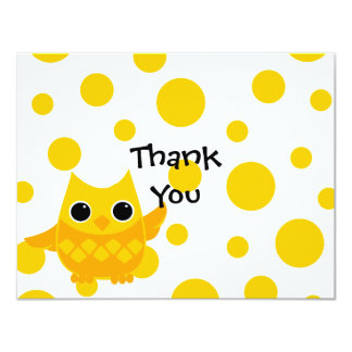 Yellow Owl 11 Cm X 14 Cm Invitation Card