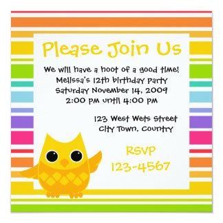 Yellow Owl 13 Cm X 13 Cm Square Invitation Card