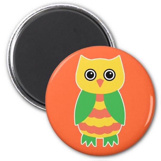 Yellow Owl 6 Cm Round Magnet