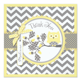 Yellow Owl Chevron Print Thank You Card 13 Cm X 13 Cm Square Invitation Card