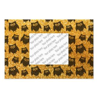 Yellow owl glitter pattern photo print