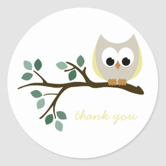 Yellow Owl Thank You Stickers