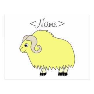Yellow Ox with Curled Horns Postcard