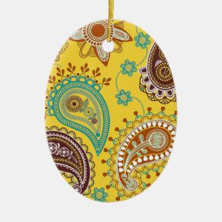 Yellow Paisley Ornaments