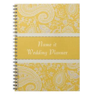 Yellow paisley Indian Damask Wedding Planner Notebook