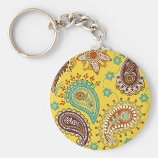 Yellow Paisley Key Ring
