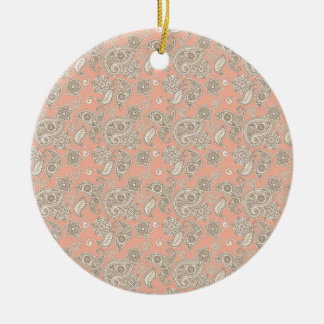 Yellow Paisley on Peach Ornament