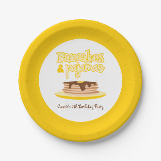 Yellow Pancakes and Pajamas Birthday Party Paper Plate