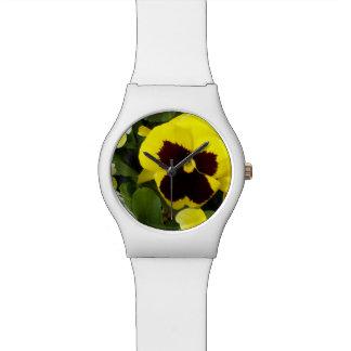 Yellow Pansies, Ladies White Watch