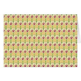 Yellow pansies - retro wallpaper pattern note card