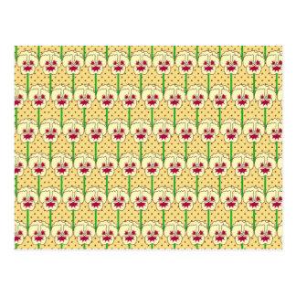 Yellow pansies - retro wallpaper pattern postcard