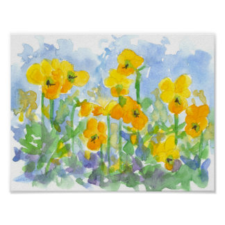 Yellow Pansies Watercolor Spring Flowers Painting Poster