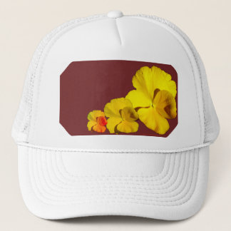 Yellow Pansy Floral Motif on Maroon II Trucker Hat