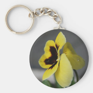 Yellow pansy key ring