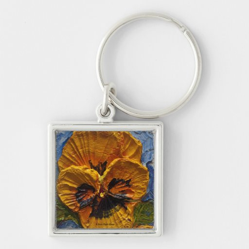 Yellow Pansy Keychains