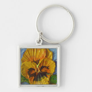 Yellow Pansy Silver-Colored Square Key Ring