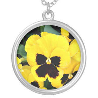Yellow Pansy Silver Plated Necklace