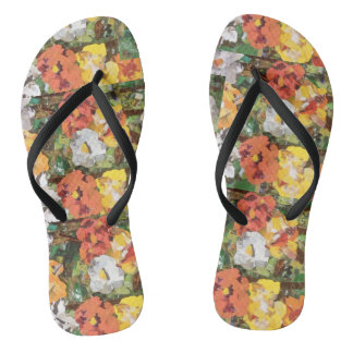 Yellow Paper Flowers on Slim Strap Flip Flops