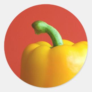 yellow paprika round sticker