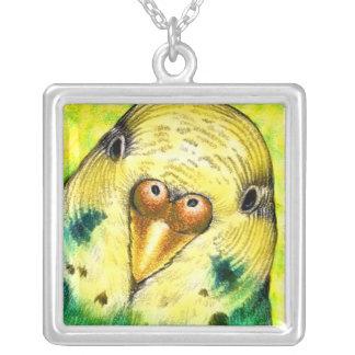 Yellow Parakeet Budgie Bird Necklace Pendant