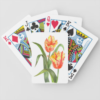 Yellow Parrot Tulips Flower Floral Art Bicycle Playing Cards