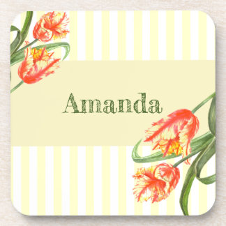 Yellow Parrot Tulips Flower Floral Art Coaster