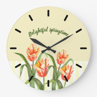 Yellow Parrot Tulips Flower Floral Art Large Clock