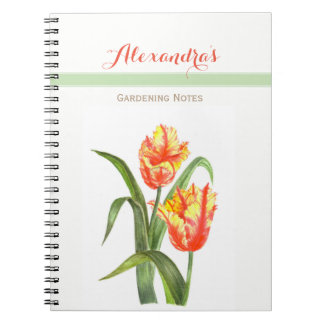 Yellow Parrot Tulips Flower Floral Art Notebook