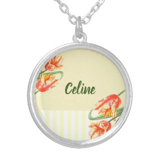 Yellow Parrot Tulips Flower Floral Art Silver Plated Necklace