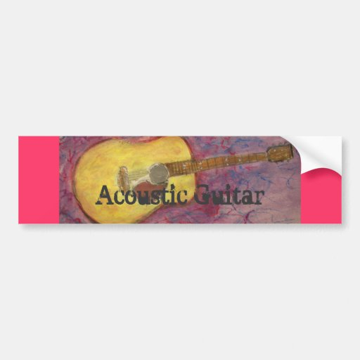 yellow patina acoustic guitar bumper stickers