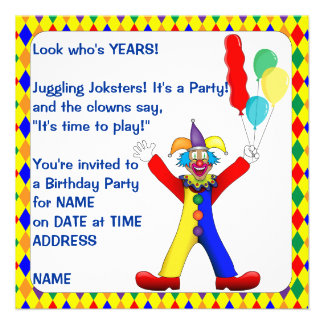 Yellow Pattern Colors Joker Clown Balloons Party Invite