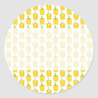 Yellow Pattern of Peppers. Classic Round Sticker