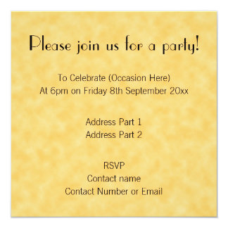 Yellow Patterned Background. 13 Cm X 13 Cm Square Invitation Card
