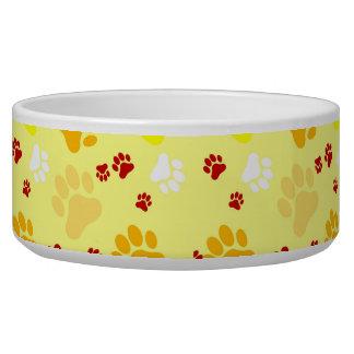 Yellow Paw Print Pet Food Bowls