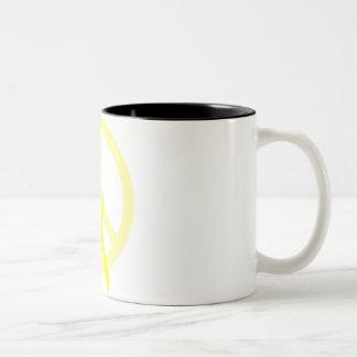 Yellow Peace & Ribbon Mugs