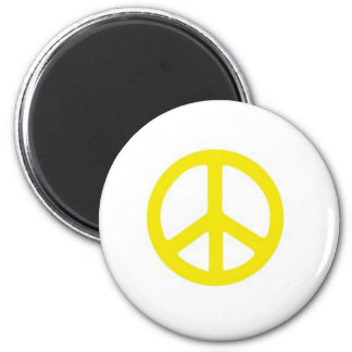 YELLOW PEACE SIGN :-) 6 CM ROUND MAGNET