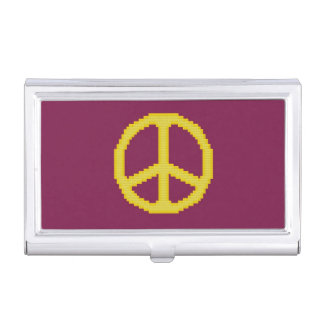 Yellow Peace Sign Business Card Cases