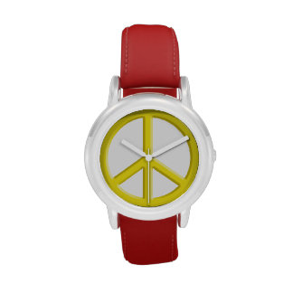 Yellow Peace Sign Watch