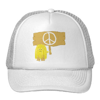 Yellow Peace Sign Mesh Hat